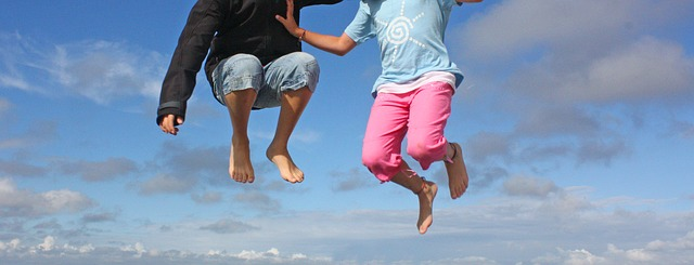 nohy, děti, skok